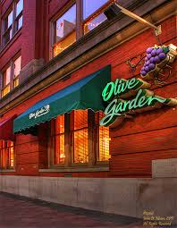 the olive garden in downtown spokane just after sunset