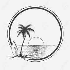 夏の海のパーム ビーチのイラスト