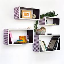 Purple Floating Shelves Delectable Trista [Purple Strip] Rectangle Leather Wall Shelf Bookshelf