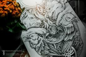 Odin север викинги волк ворон руны эскиз тату рисунок