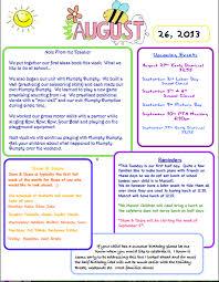 Sample Newsletter Mrs Nintzels Pre K