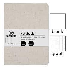 Cute Paper Notebook Cotton Linen Fabric Hardcover Blank Graph