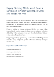 Happy Birthday Wishes And Quotes Download Birthday Wallpaper Cards Fascinating Download Song Quotes