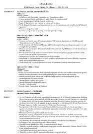 Media Broadcasting Resume Broadcast Operations Resume Samples Velvet Jobs 2