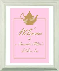 Kitchen Tea Party Invitation Lady Pink Personalized Tea Bag Favours Tea Party Supplies