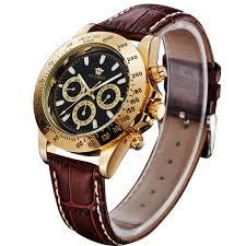 high quality whole men ouyawei automatic watch from men ouyawei men new design gold case dial mechanical watch 6 hands luxury army brown leather clock
