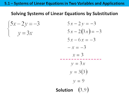 6 solving systems of linear equations by substitution solution 5 1 systems of linear equations in two variables and s