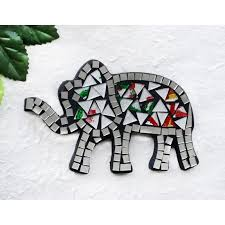 mosaic glass 16cm trumpeting elephant wall hanging