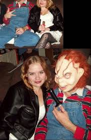 chucky s costume was pretty simple to make i picked up a red and blue striped sweater and a pair of overalls from value village