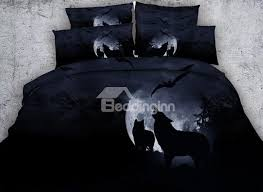 72 3d wolf howling at the moon printed cotton 4 piece black bedding sets