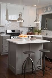 cozy kitchen islands for small kitchens love the moroccan tile backsplash and gray beadboard on the