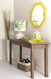 Outstanding Unfinished Wooden Console Entryway Table With Wooden Tray On  Green Also Floral Pattern Drum Shade Table Lamp Also Octagonal Wall Mirror  Frames ...