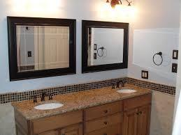 Brown Wooden Double Bathroom Vanities With Brown Granite Top Added