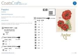Chart Cross Stitch Free Free Cross Stitch Poppy Chart From Anchor Coats Crafts Uk