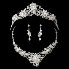 silver freshwater pearl swarvoski crystal bead and rhinestone tiara headpiece 2596 jewelry set 7825 adam s jewelersadam s jewelers