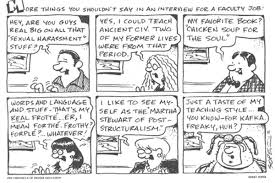 interviewing what not to say in an academic job interview cartoon
