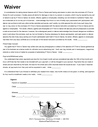 Registration Form Waiver A Time To Dance