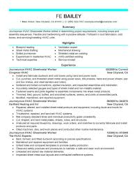 Resume Sheet Metal Examples Of Resumes Hvac Duct Installer Sample
