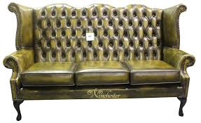 Antik Chesterfield Wingback Stuhl Leder Flügel Stühle Für