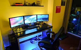 desk lighting solutions. Computer Desk Lighting Innovative Neon Blue Accent Lights On An Small Space Solutions