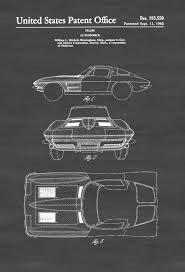 vintage decor clic: clic car wall art decor  corvette stingray patent patent print wall decor automobile decor vintage automobile art classic car vintage corvette d