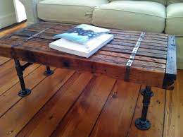 Barn Wood Coffee Table With Metal Bands