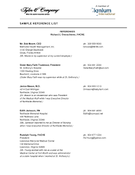 Resume Reference Page Reference Page Format Resume With References Samples