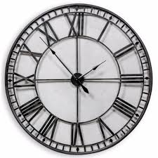 large round black skeleton wall clock