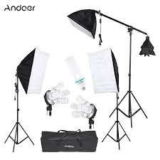 andoer photography photo studio light lighting tent kit with softbox light socket cantilever stick 45w 135w