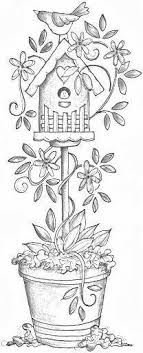 Small Picture A birdhouse on a stand in a pot of tulips Patterns Drawings