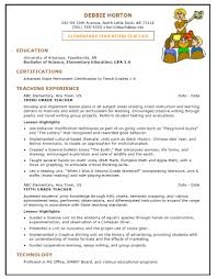 Example Nursery Teacher Resume Elementary Education Formats Www