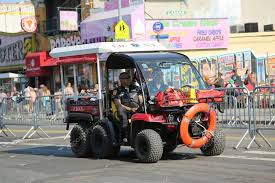 fdny ems rescue vehicle at coney island in brooklyn stock photo