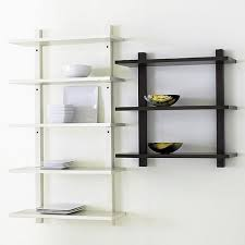 ... Wall Mounted Shelves Sears Bookcases Hoctropro White Colored Wall Black  Colored Wooden Shelf Veramic Plate Ornament ...