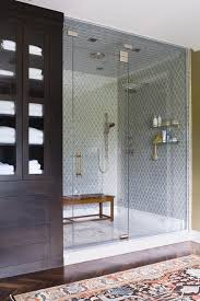 eclectic tile design for walk in shower space