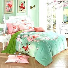 green bedding sets full mint and pink peach blossom print oriental style country chic soft lime