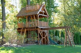 cool playhouse with slide in kids traditional with backyard playground next to swing set alongside jungle gym and building backyard playhouses