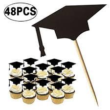 Amazoncom Coxeer Graduation Cake Topper 48pcs Cupcake Topper