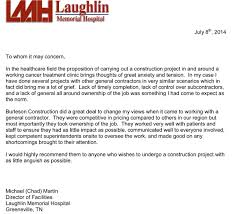 Letter Of Recommendation For Project Manager Letters Of Recommendation Burleson Construction General Contractor