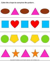Shape Patterns Stunning Complete Patterns By Coloring The Missing Shapes Worksheet Turtle
