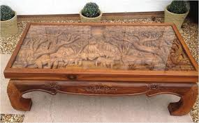 hand carved coffee table handcrafted with glass top chinese