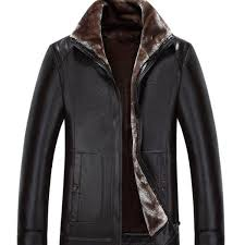 men fur one leather jacket 2017 new winter warm fashion turndown collar thick men leather jacket short coat m 4xl