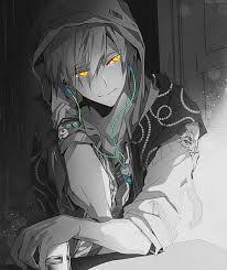 Image result for anime boy black hoodie, spray can, white hair