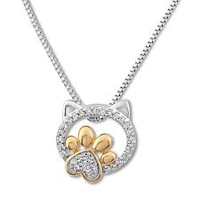 diamond cat paw necklace 1 10 ct tw sterling silver 10k gold