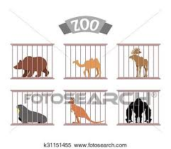 zoo animals in cages clipart. Interesting Zoo Clipart Of Zoo Collection Wild Animals In Cages Beasts Behind Bars  Bear And Moose Captivity Kangaroo Camel Sit At To Zoo Animals In Cages I