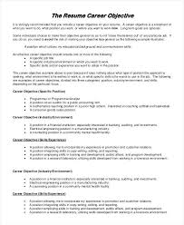 Career Objective For Resume Beauteous General Career Objective Resume In Samples Entry Level Socialumco