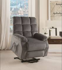 recliner chair slipcovers ipompea recliner w power lift mage in gray velvet acme of recliner chair
