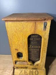 Wooden Vending Machine Simple VINTAGE COIN OPERATED Zeno Chewing Gum Vending Machine Wooden Zeno