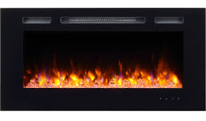 puraflame alice 40 recessed electric fireplace wall mounted for 2 x 6 stud log set crystal 1500w heater black