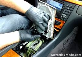 how to remove comand stereo radio unit mercedes benz e320 e500  at 2006 Mercedes Cls500 Bluetooth Wiring Diagram