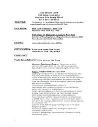 Psychology Resume Samples